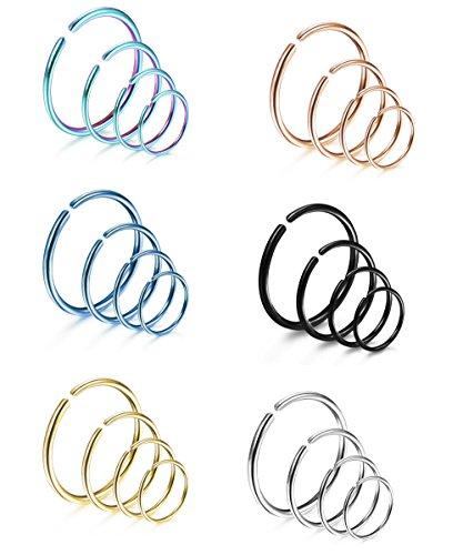 LOYALLOOK 24Pcs 316L Stainless Steel Nose Ring Hoop Cartilage Hoop Septum Piercing 6mm,8mm,10mm,12mm 18G