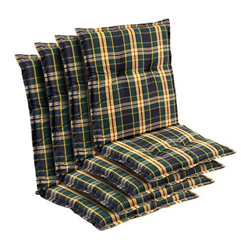 Homeoutfit24 Prato, Gartenstuhl-Auflage, Made in Europe, Polyester, Oeko-TEX® Standard 100, UV-beständig, Halteband & Kordeln, 4-Stück, gelb