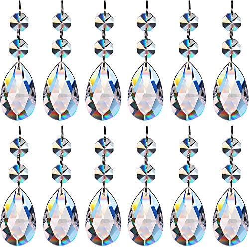 12 Pieces Clear Teardrop Crystal Chandelier Pendants Crystal Beads Hanging Ornament Glass Crystal Chandelier Prisms Pendants for Wedding Party Tree Garlands Decoration DIY Jewelry(2 Inch)