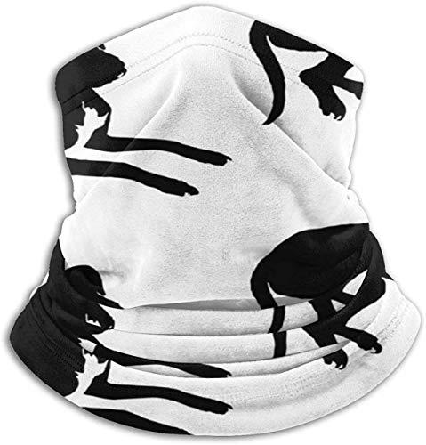 HHUAN Great Dane Labrador - Silueta para cachorros de perro, color blanco y negro unisex de forro polar, polaina de microfibra para el cuello, bufanda mágica para el polvo al aire libre