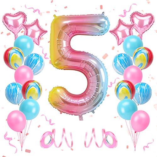 KATELUO Globo de Cumpleaños 5 Años, Decoración de Cumpleaños 5 Años, Globo Numero 5 Gigante, Cumpleaños Globos 5 Años Niña, Globos de Cumpleaños Niña 5 Años para Fiestas de Cumpleaños