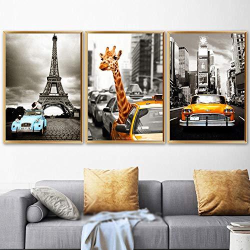 Pintura en lienzo New York Giraffe Taxi London Carteles e impresiones vintage Paisaje nórdico Imágenes artísticas de pared para decoración del hogar   40x60cmx3 Sin marco
