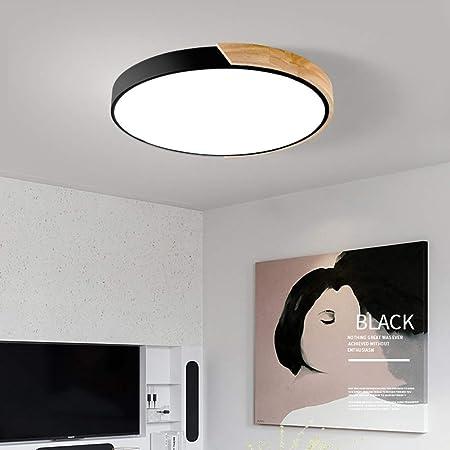 FADDARE Plafonnier rond à LED 18 W en bois ultra fin de couleur macaron, 30 cm, style nordique pour chambre à coucher, cuisine, salle de bain, couloir