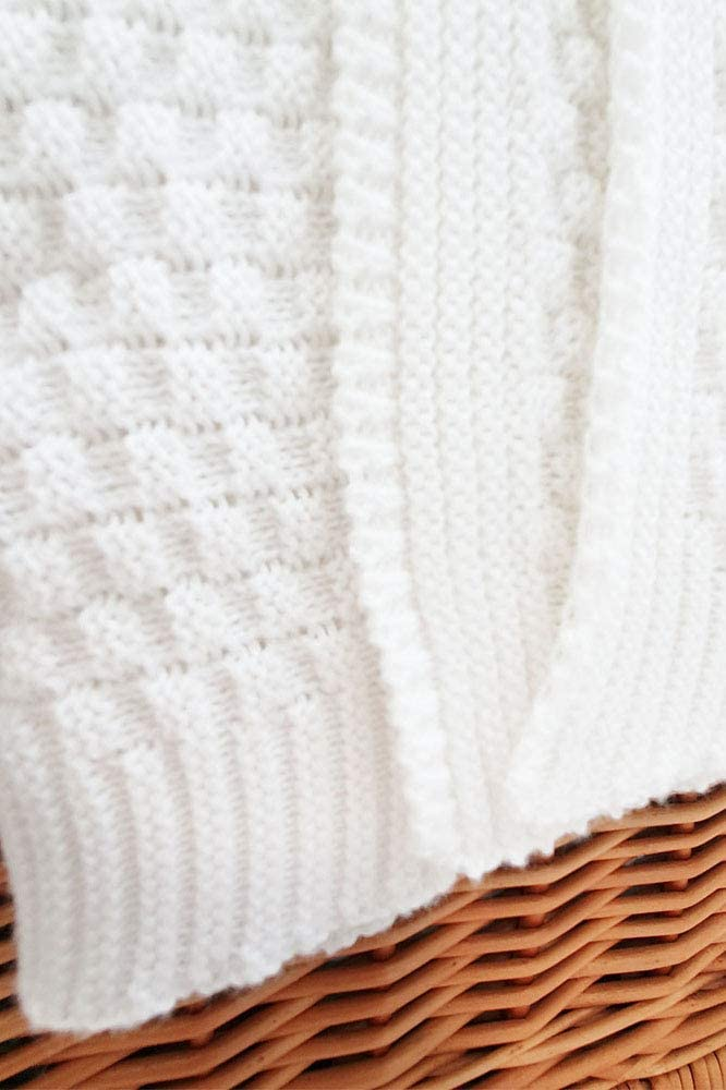 Couverture de B/éb/é Tricot/ée Wallaboo Couverture pour b/éb/é Eden fabriqu/é en Allemagne Tr/ès Doux pour B/éb/é 90/x 70/cm 100/% coton bio Couleur: Blanc Plaid