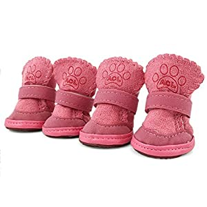 URBEST 2 Pairs Pink Detachable Sole Puppy Dog Shoes Boots (5#, Pink)