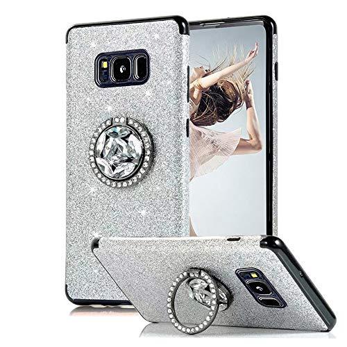 Kompatibel mit Samsung Galaxy S8 Plus Hülle, Obesky Luxus Bling Glitzer Weich TPU Silikon Bumper mit Diamant Strass Drehbarer Ring Ständer Stoßfest Schutzhülle für Galaxy S8 + Plus, Silber