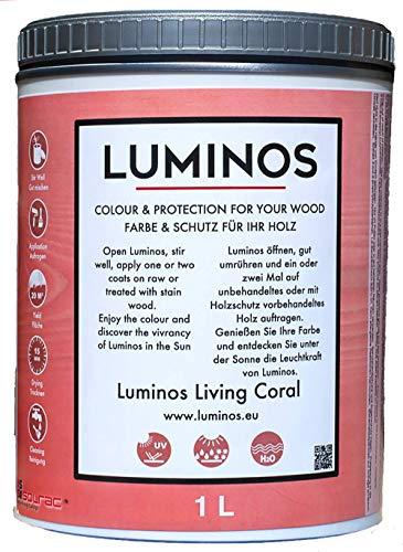 Luminos LUM1113 -LIVING CORAL - Barniz Lasur al Agua Protector Madera Exterior. Color Coral Rosado. 1L