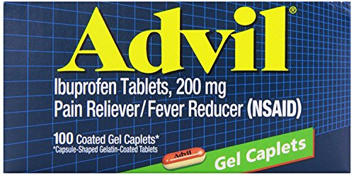 Advil Coated Gel Caplets, Pain Reliever and Fever Reducer, Ibuprofen 200mg, 100 Count, Fast-Acting Formula for Headache Relief, Toothache Pain Relief and Arthritis Pain Relief