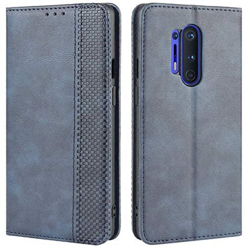 HualuBro Handyhülle für OnePlus 8 Pro Hülle, Retro Leder Stoßfest Klapphülle Schutzhülle Handytasche LederHülle Flip Hülle Cover für OnePlus 8 Pro Tasche, Blau
