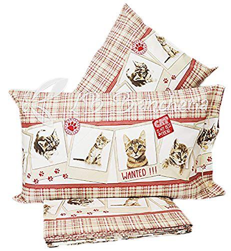 R.P. Beddengoed van katoen met slaapzak voor katten, katten, katten, thedesche, kussensloop: 70 x 90 cm, 100% Made in Italy, afmetingen: 155 x 220 cm, 2 kussenslopen: 70 x 90 cm.