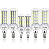 ZJING Bombilla LED De Maíz para La Cocina E14, 3W~15W Candle Corn Ligh, Equivalente A Las Bombillas Halógenas De 30W-150W, AC200-240V, Non-Dimmable, 6Pcs,E14 Cool,3W220V 24LEDS
