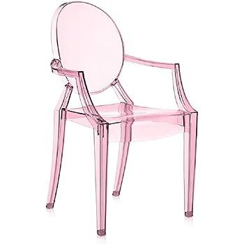 Rose transparent Kartell 2852Y2 Chaise pour enfant Lou Lou Ghost