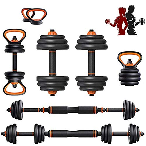 Adjustable Weights Dumbbells Set, Free Weight Set Adjustable Barbell Kettlebells Push Up Stand for Home Gym Work Out Fitness Equipment Exercise
