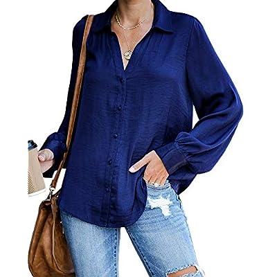 Amazon - Save 70%: Ivay Womens Long Sleeve Button Down Shirts V Neck Fall Fashion Loose Plain T…