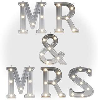 DELICORE Decorative Illuminated MR & MRS Marquee Word Sign (Silver Color 4.21