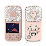 FEIlei Game Console, 3 Speed Adjustable Handheld Fan Mini USB Desk Fan Small Quiet Portable Table Personal Cooler,2500mah Capacity-Pink