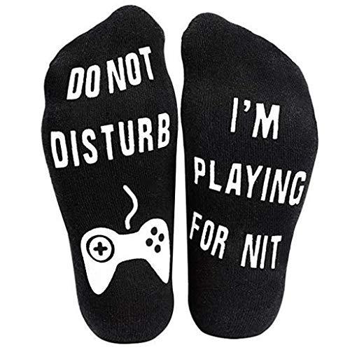 AJOYCN Paire de chaussettes de gamer noires en coton pour homme et femme