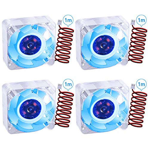 GeeekPi 4Pack 40mm 3D Printer Cooling Fan 24V DC Brushless Fan 4010 40x10mm High Speed Blue Backlight Fan with 2 Pin Terminal (Blue)
