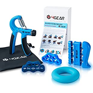 Customer reviews 4GEAR Hand Grip Strengthener Workout Kit (5 Pack) - 22-88lbs Adjustable Forearm Hand Gripper, Finger Stretchers, Finger exerciser & Grip Ring + Exercise Manual + Carrying Bag + 3 Years Warranty