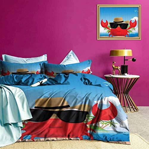 Adorise Funda nórdica Crustáceo Gafas de Sol Sombrero Juego de Cama con Estampado Retro para decoración de Dormitorio - Tamaño King