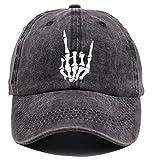Skeleton Hand Hat, Skull Finger Embroidery Baseball Cap Adjustable Washed Distressed Denim for Men Women