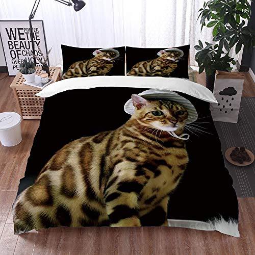 Bedsure Funda Nórdica,Gato Sexy animal con estampado de leopardo con sombrero de pescador medio sentado sobre una manta de lana Estil,Fundas Edredón 240 x 260 cmcon 1 Funda de Almohada 40x75cm