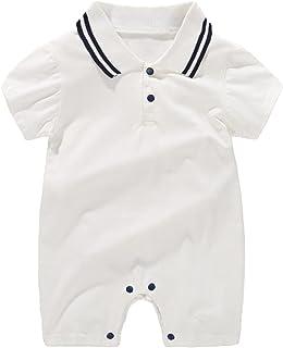 الوليد بيبي بوي قطعة واحدة رومبير شهم تتسابق قصيرة الأكمام طوق بذلة شورت الملابس الصيفية الكلية (Color : White, Size : 73CM)