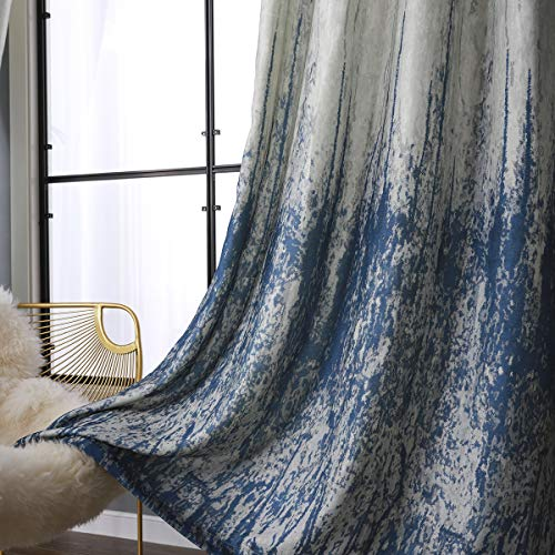 Taisier Home Light Blocking Gradient Color Panels Blue Ombre Blackout Curtains Room Darkening Thermal Insulated Grommet Window Drapes for Living Room/Bedroom (Blue, 2 Panels, 52x95 Inch)