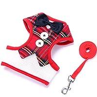【Selling-Pet】ハーネス ベスト 犬用 小型犬 スーツ&リーシュ ソフト メッシュ 犬ハーネス ベスト 調節可能 ボウタイ 紳士 ファッション 可愛い ブラック