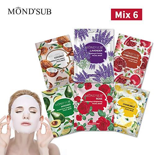 Mascarilla Hojas Por MOND'SUB-The Ultimate Collection para cada piel Día Condición de Día Las máscaras faciales de la piel Preocupaciones-Nutriente y refrescantes e Iluminadora -Natural Frutas y Esenc