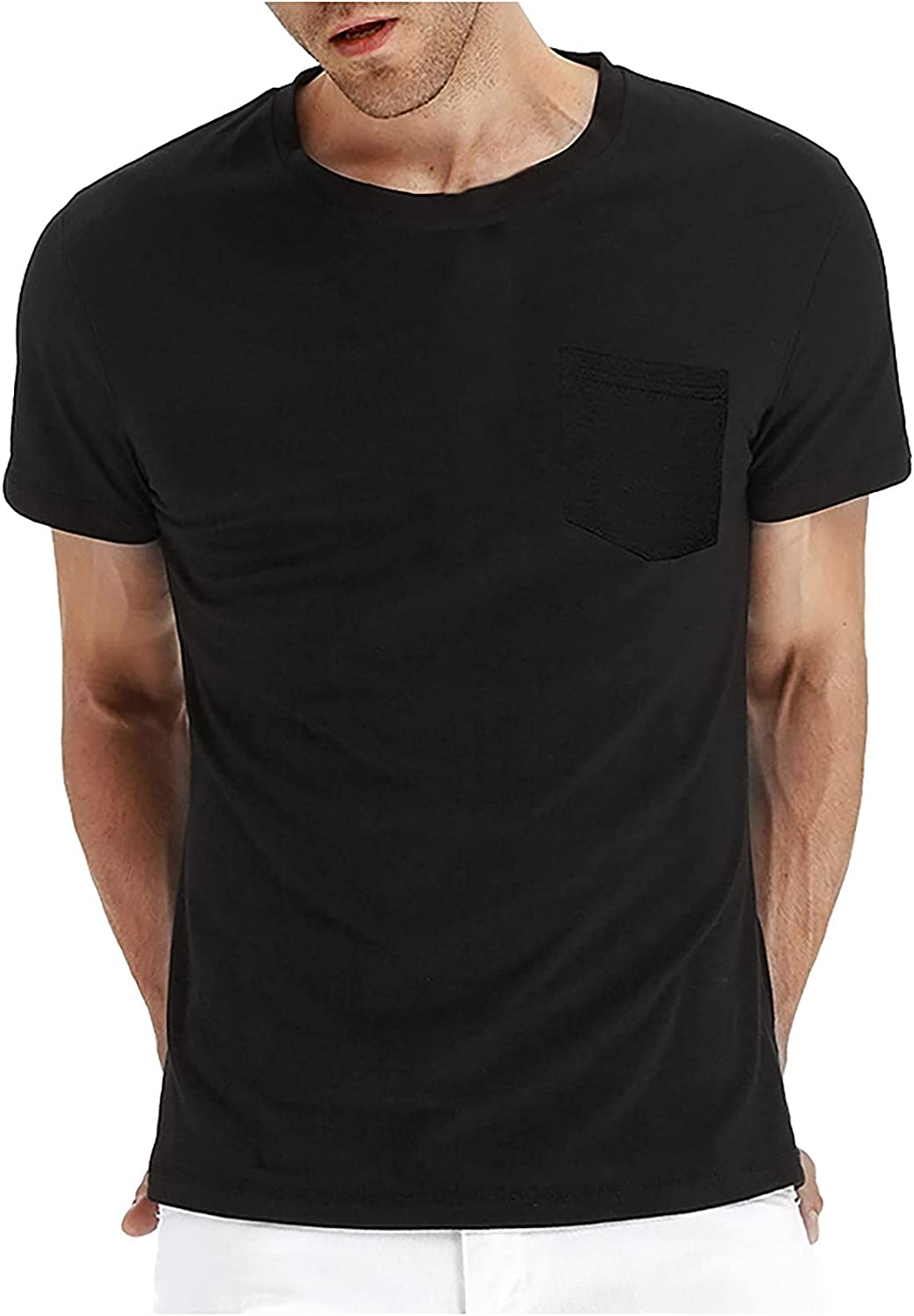 Huangse Mens T Shirts Casual Athletic Fit Workout Slim Fit Muscle Gym Fitness Short Sleeve Tee Shirt Tops