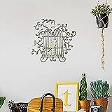 HQL Decoración de Pared de pájaro, decoración de Jaula de Metal para Pared del hogar, Silueta de Pared de Jaula de pájaro, 30 cm x 30 cm, para Sala de Estar, Dormitorio, Exterior, Interior