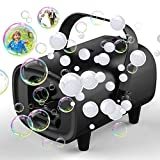 keabys Bubble Machine Halloween, Automatic Professional Bubble Blower Machine for Kids, Portable Fog Bubble Maker for Parties with 2 Power Supply Modes Plug-in/ Power Bank Fog Bubble Machine Black