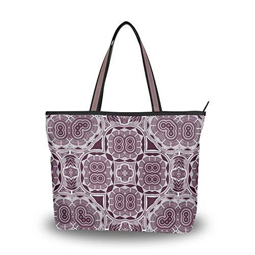NaiiaN Bolsos Bolso de mano Abstracto Púrpura Hexágono Cuadrado Geométrico para mujeres Niñas Señoras Monedero para estudiantes Bolsos de hombro de compras Correa liviana