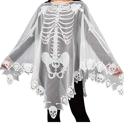 Halloween Costumes Lace Skeleton Bat Spiderweb Skull Poncho for Women (57X57 inch, White-Skeleton)