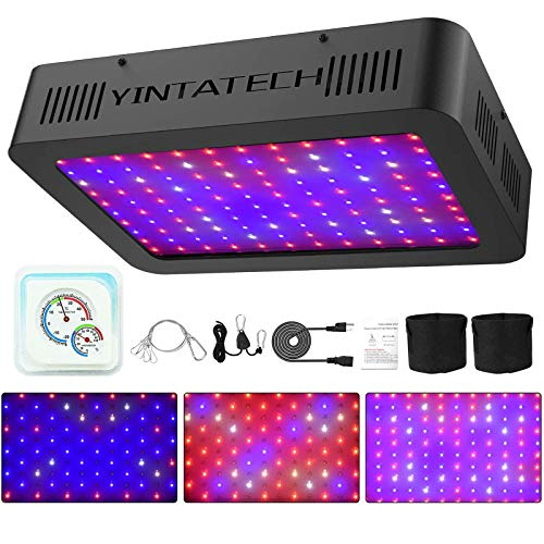 YINTATECH 1200W Watt LED Grow Light Full Spectrum Growing Lamp for Indoor Hydroponic Greenhouse Plants Veg and Flowers with Double Switch, Daisy Chain, Adjustable Rope Hanger, Hygrometer Thermometer