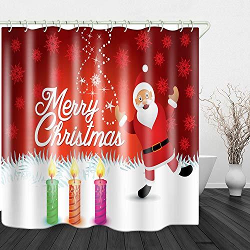 Red Fire Duschvorhang mit Weihnachtsmann-Kerzen-Druck, wasserdichtes Polyestertuch & rostfreie Kupferschnalle, keine Verschmutzung, 180,3 x 198,1 cm