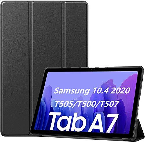 APISHUM Custodia per Samsung Galaxy Tab A7 10.4'' 2020 SM-T505/T500/T507 Case Cover, Smart PU Cover Multi-angli Stand con Auto Sveglia/Sonno Funzione con Samsung Galaxy Tab A 7, Nero
