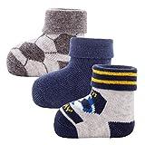 Ewers Newborn Babysocken für Jungen 3er Pack Fussball, MADE IN EUROPE, Baumwolle Baby Socken Erstling