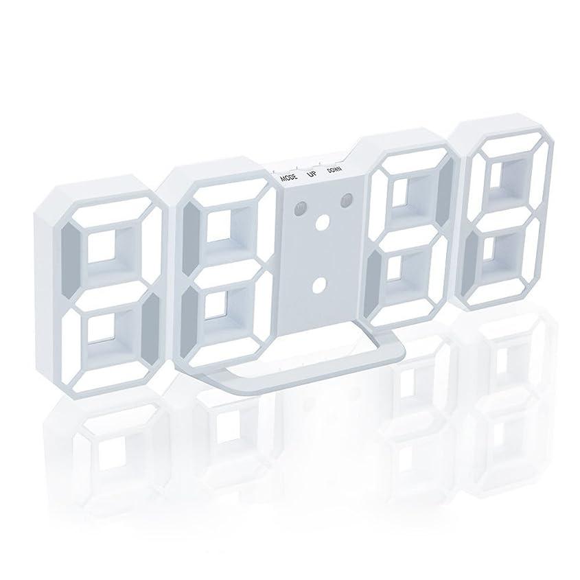 スリチンモイミニチュア適度なEAAGD 多機能 電子 3D 8888 LEDデジタル目覚まし時計 掛け時計、12H / 24H時間表示 自動調節可能のLED明るさ 家の装飾卓上時計 (ホワイト本体+ホワイトライト)
