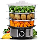 Geepas Food Steamer 12L Capacity | 3 Tiers BPA Free Removable | 75 Minutes Timer & 1000W Power | Stainless Steel Housing | Makes Healthy Food, Meat, Fish & Vegetable Steam | Electric – 2 Year Warranty