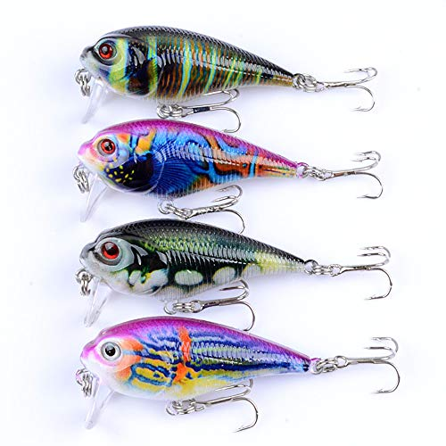 JUEMENZHE Fishing Lures Topwater Floating Popper Poper Lure Hooks Bait Bass Crankbait 4PCS 2.4 Inch 0.32 oz