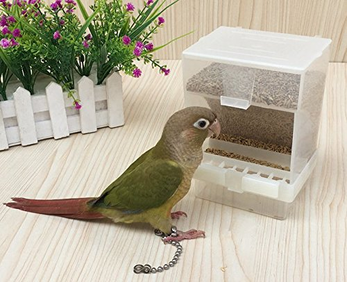 Old Tjikko Parrot Automatic Feeder,No-Mess Bird Feeder,Cage Accessories for Budgerigar Canary Cockatiel Finch Parakeet Seed Food Container (Hooked Bird Feeder)