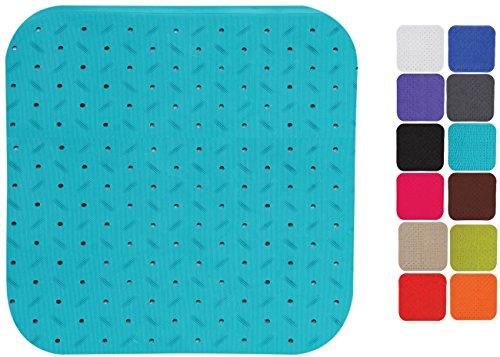 MSV Premium Duschmatte Badematte Badewannenmatte Badewanneneinlage antibakteriell rutschfest mit Saugnäpfen - Hellblau - duftet nach Rosen - ca. 54 x 54 cm - waschbar bei 60° Grad