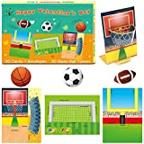 Sports Valentine's Day Cards Football Soccer Basketball Flick 'em Game Card with Envelopes for Kids Valentine Classroom Exchange Party Favor