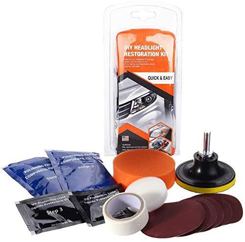 Moonvvin Kit di Ripristino del Faro Strumento di Pulizia del Faro per Ripristinare i Fari Scoloriti e Sbiaditi per Auto Moto