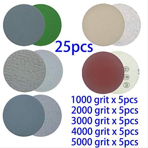 MYJH25 Stück Schleifpapiere 3 Zoll Scheibenschleifer für Trocken- und Nassschleifen Polieren Reinigungswerkzeuge 1000 2000 3000 4000 5000 Körnung