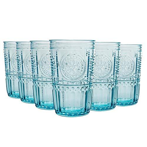 Bormioli Rocco Romantique Highball Glasses Set - Cut Vintage Italian Verre Cocktail Gobelets - 475ml - Bleu - Lot de 6