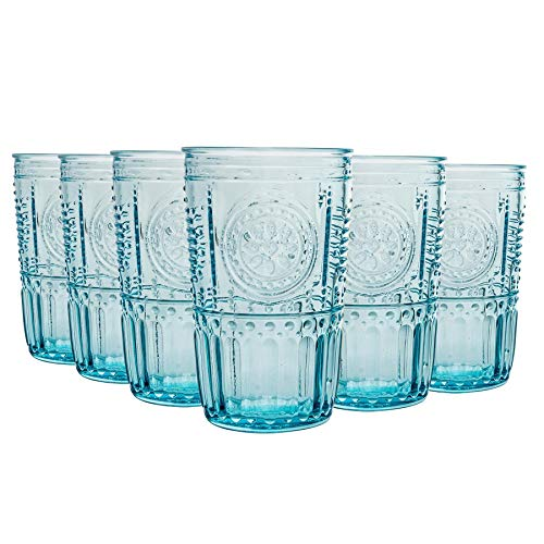 Bormioli Rocco Romantique Highball Glasses Set - Cut Vintage Italian Verre Cocktail Gobelets - 475ml - Bleu - Lot de 6