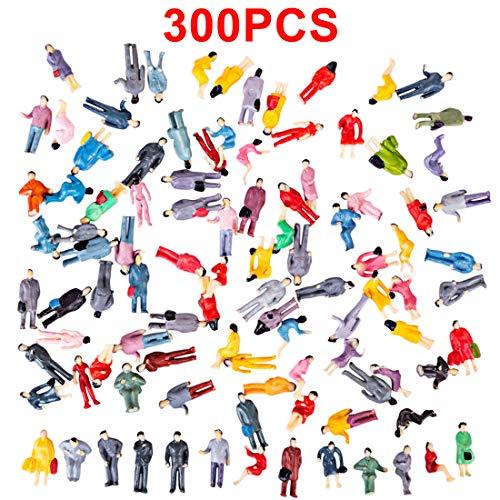 Haunen 300 Stück Figuren Stehende Sitzende Figuren Menschen Figuren Modellbahn Spur H0 1:87 - Zufälliger Typ